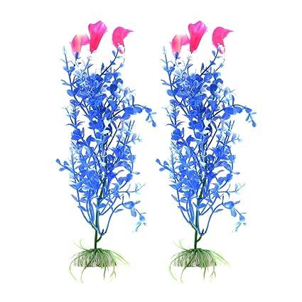 sourcing map 2Pcs Planta Hierba Flor Aritificial de Plástico Azul para Acuario Pecera Tanque Decoración Ornamento