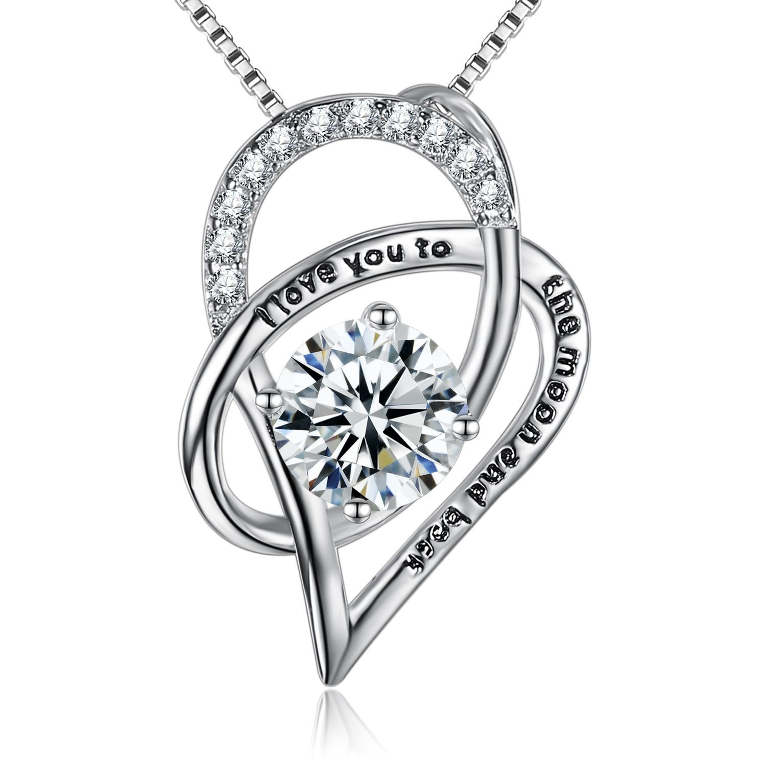BGTY Sterling Silver I Love You To The Moon and Back Love Heart Pendant Necklace 18''