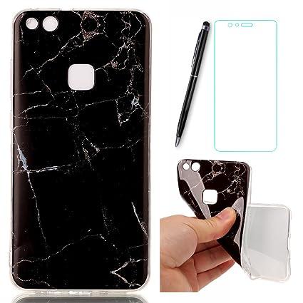 Lotuslnn Huawei P10 Lite Funda- P10 Lite El modelo de mármol,Suave Carcasa Huawei P10 Lite(Funda + lápiz óptico + película protectora de vidrio ...