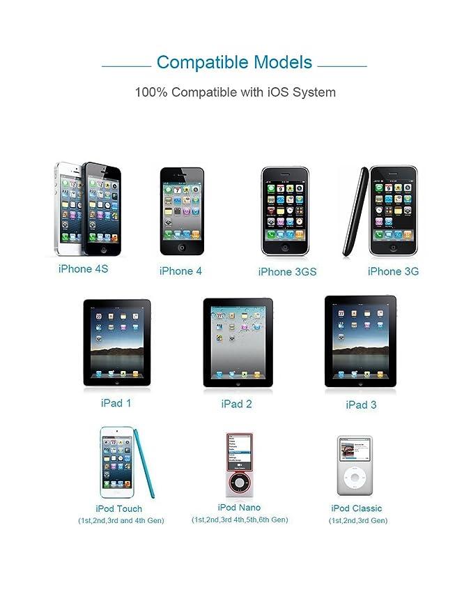 OPSO [Apple MFi Certified] Cable de sincronización y carga USB de 30 pines para Apple iPhone 4 4S, iPod y iPad 3ª Generación - 4,0 pies (1,2 metros) - ...