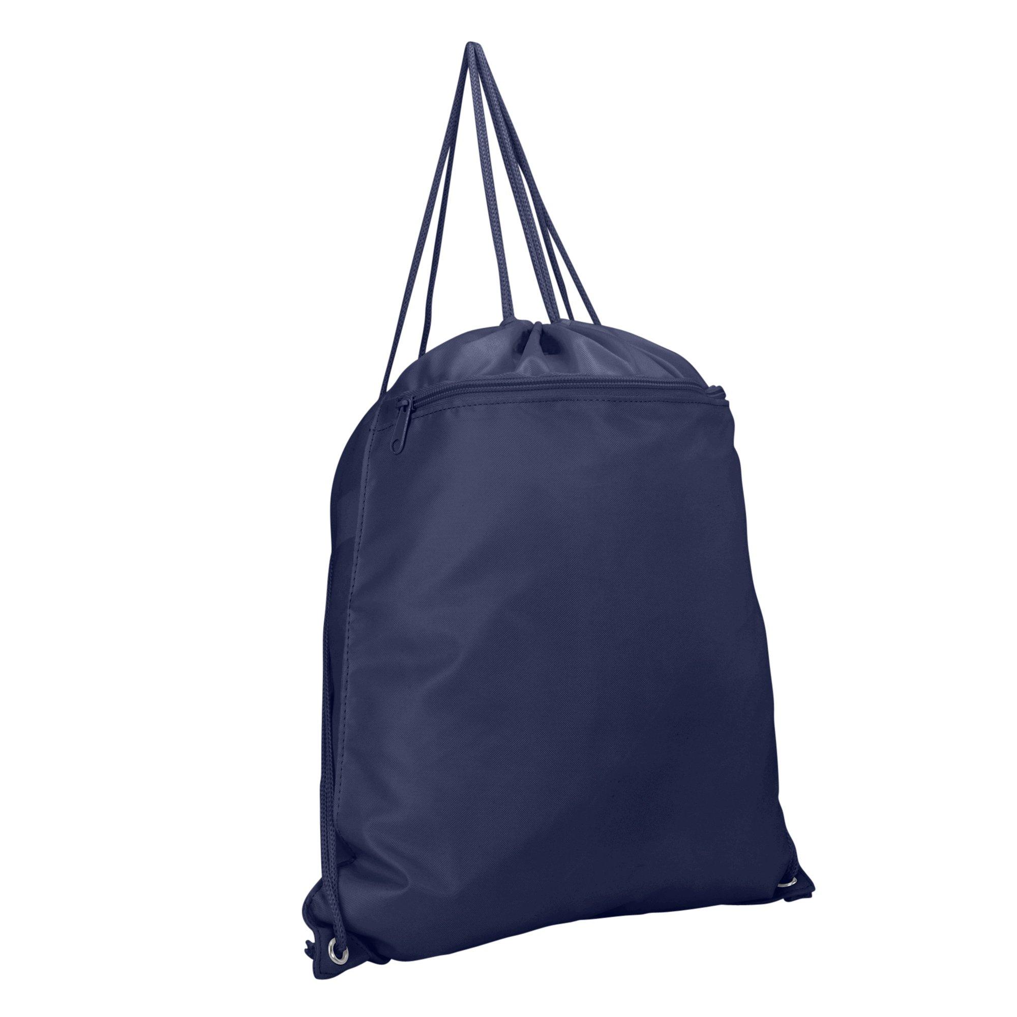 DALIX Sock Pack Drawstring Backpack Bag Sack in Navy Blue