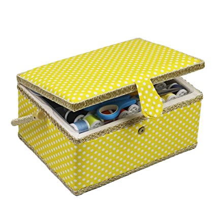 EJY Portable Plastic Sewing Basket with Sewing Kit Accessories Art Craft Organizer,Household Clothes Sewing Box Tool for Travel,Beginners and Home