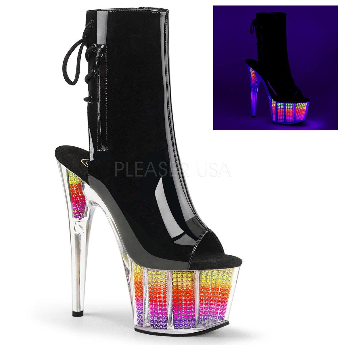 Pleaser Women's Ado1018srs/Bpu/Nmc Ankle Bootie B01N5T41MS 7 B(M) US|Blk Pat/Neon Multi Srs