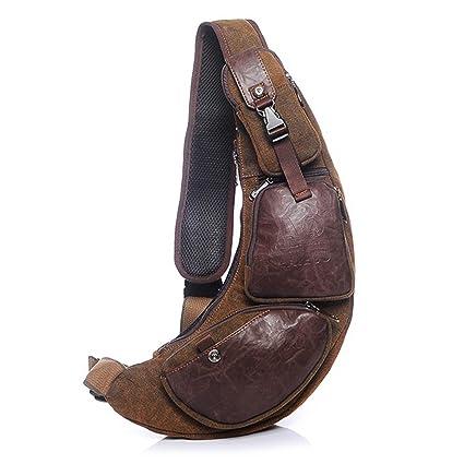 27f7872d2cd01 Outreo Brusttasche Herren Umhängetasche Retro Schultertasche Vintage  Reisetasche Messenger Taschen Canvas Sporttasche für Sport Herrentaschen  Back