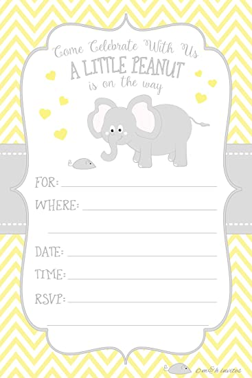 Amazon.Com: Little Peanut Elephant Baby Shower Invitations - Boy