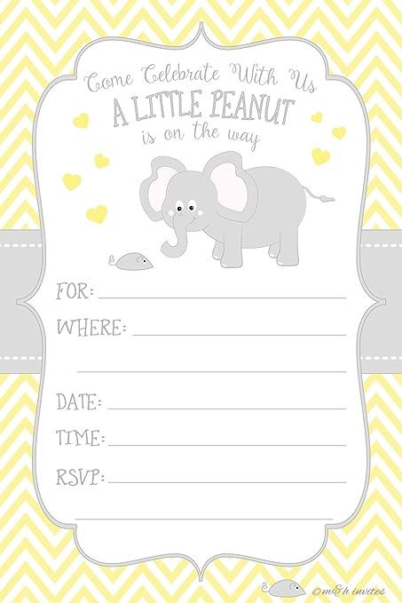 Amazon Com Little Peanut Elephant Baby Shower Invitations Boy Or