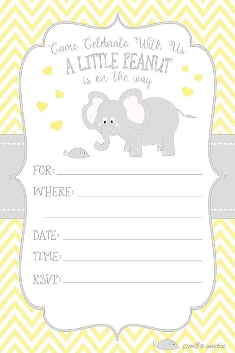 Amazon little peanut elephant baby shower invitations boy or little peanut elephant baby shower invitations boy or girl gender neutral fill in style filmwisefo