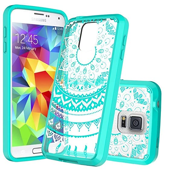 info for 2473d 5a647 Samsung Galaxy S5 Phone Case Clear,Anoke Scratch Resistant Mandala Flower  Back Cute Acrylic TPU Bumper Slim Fit Thin Protective Cover Cases with HD  ...