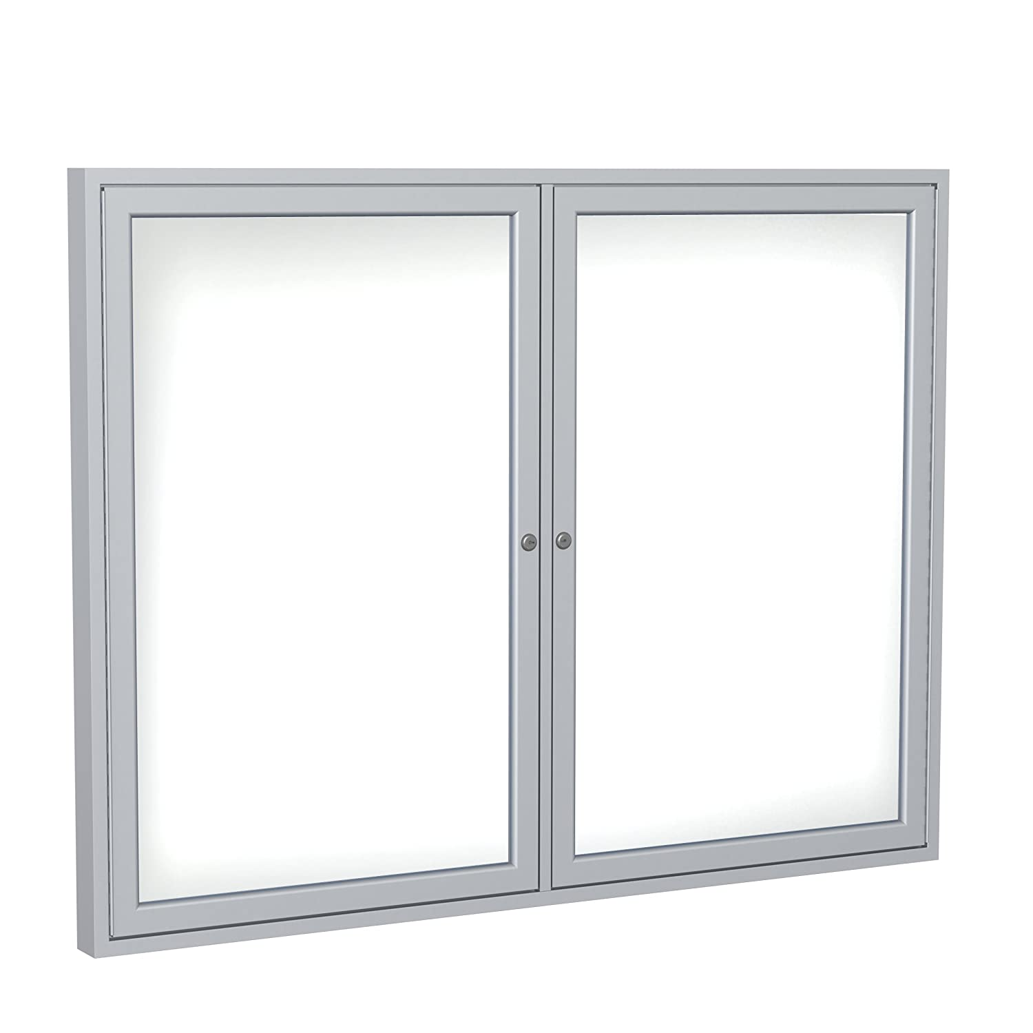 2 Door Enclosed Magnetic Whiteboard Frame Finish: Satin, Size: 4' H x 5' W