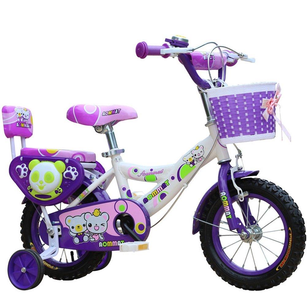 子供用自転車LLL- 子供用自転車 ユニセックス トレーニングホイール付き 3-6-9歳 12/14/16/18インチ ベビーキャリッジ パープル 14\  B07RBXWRLS