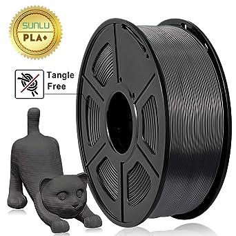 SUNLU PLA Filament 1.75mm 3D Printer Filament PLA Tangle-Free 1kg Spool 2.2lbs Dimensional Accuracy of +//- 0.02mm PLA Black