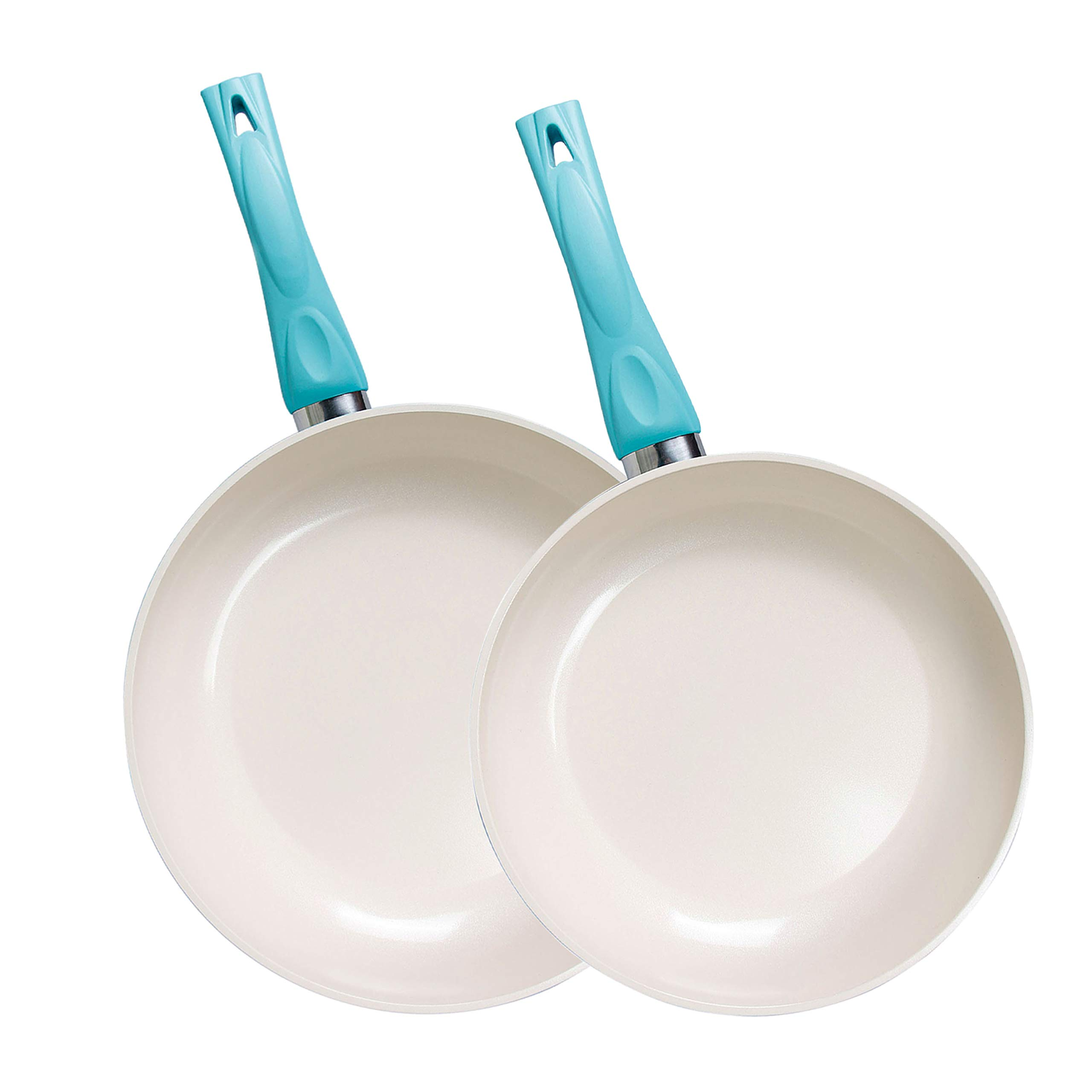 Frying Omelette Pan with Ceramic Non-Stick Coating and Soft Grip Skillet(100% PTFE, PFOA and APEO Free) (2, 10''&12'')
