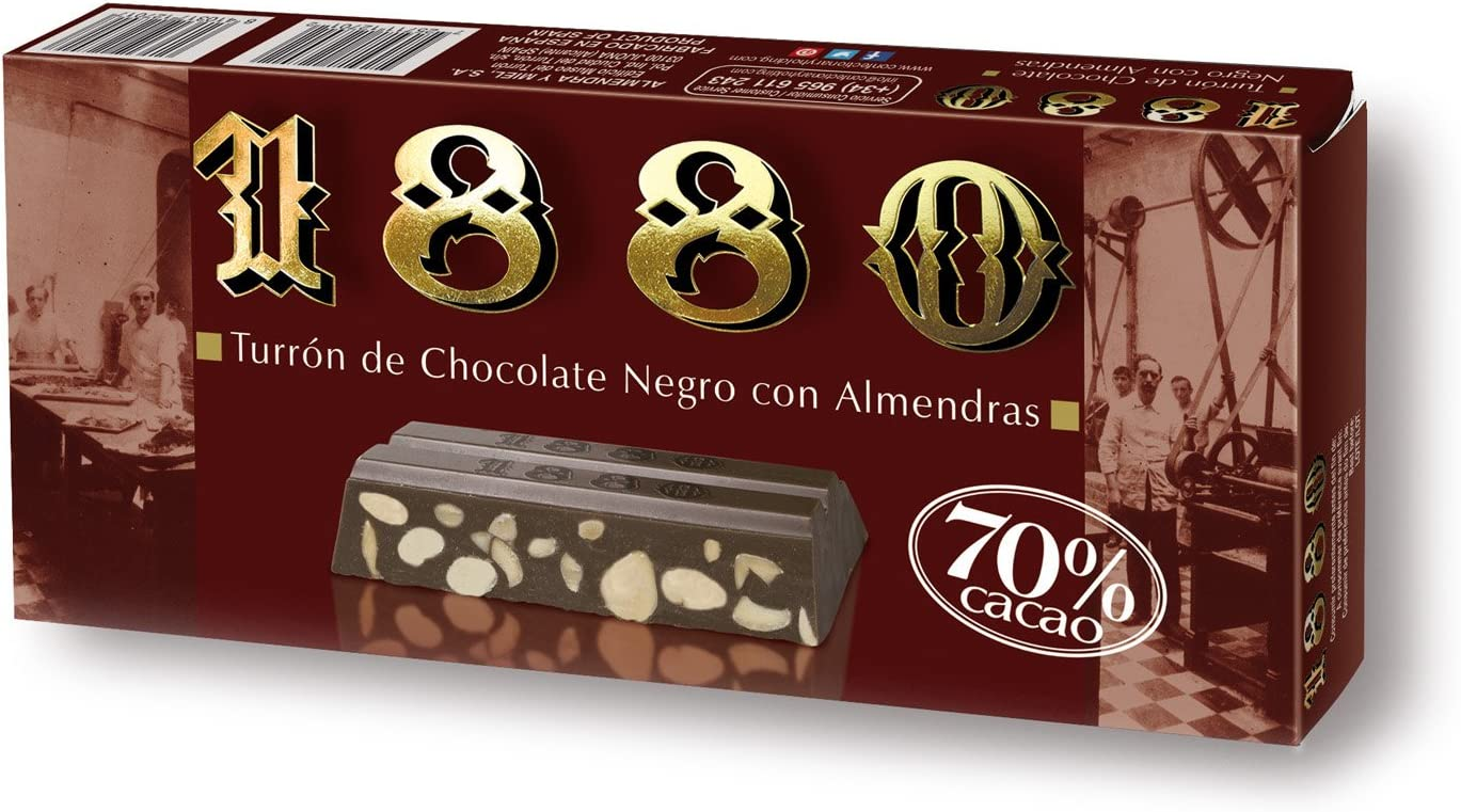 Turrón De Chocolate Negro Al 70% 1880 250G: Amazon.es ...