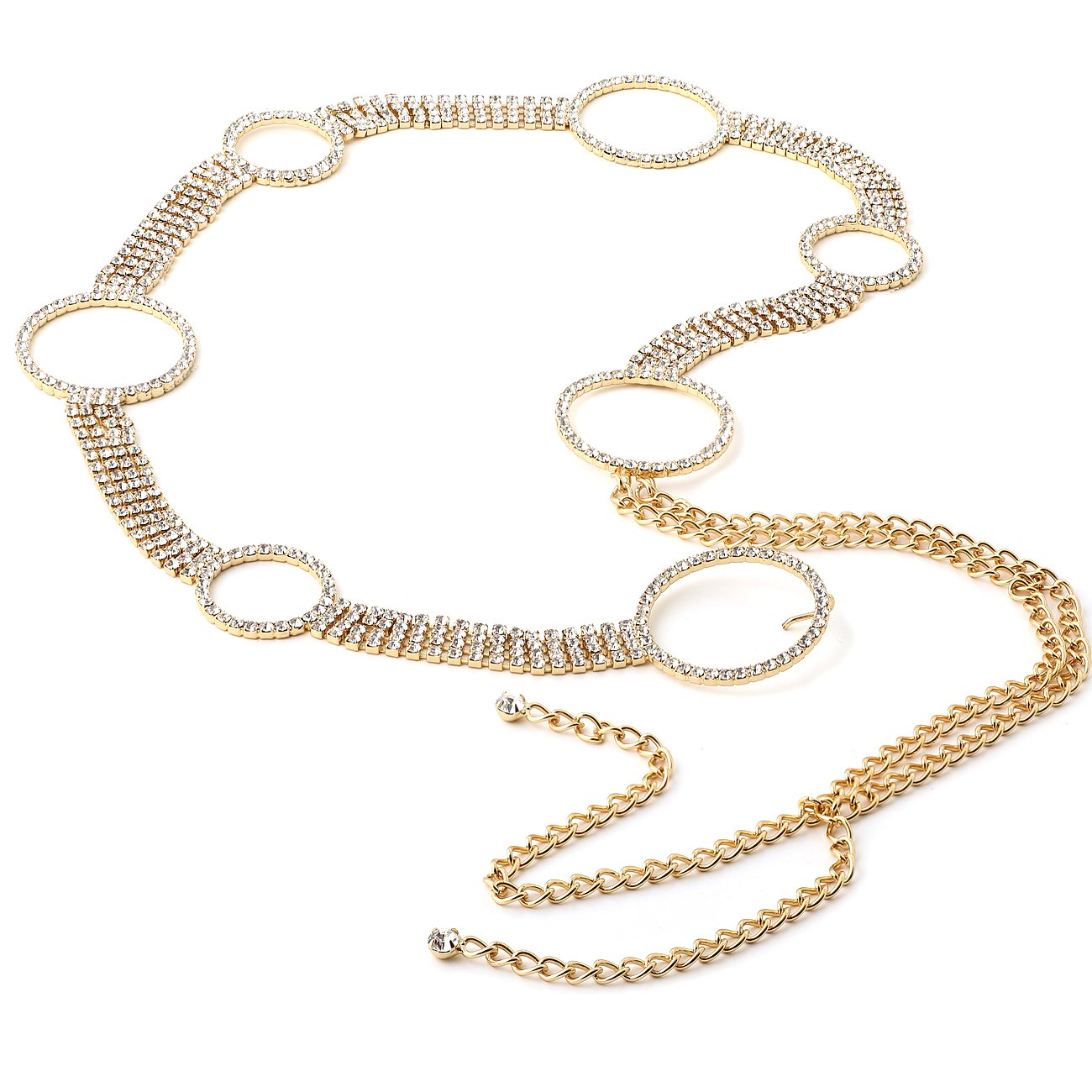 Gold Crystal Rhinestone Circles Linked by Four Lines Belt