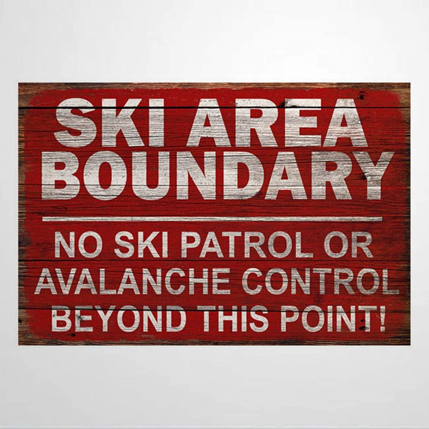 DONL9BAUER Wood Framed Plaque Ski Boundary Area Sign Vintage Skiing Warning Signs Decor Wall Art Mural Farmhouse Rustic Wood Sign Wall Decor Perfect for Bar Office & Home