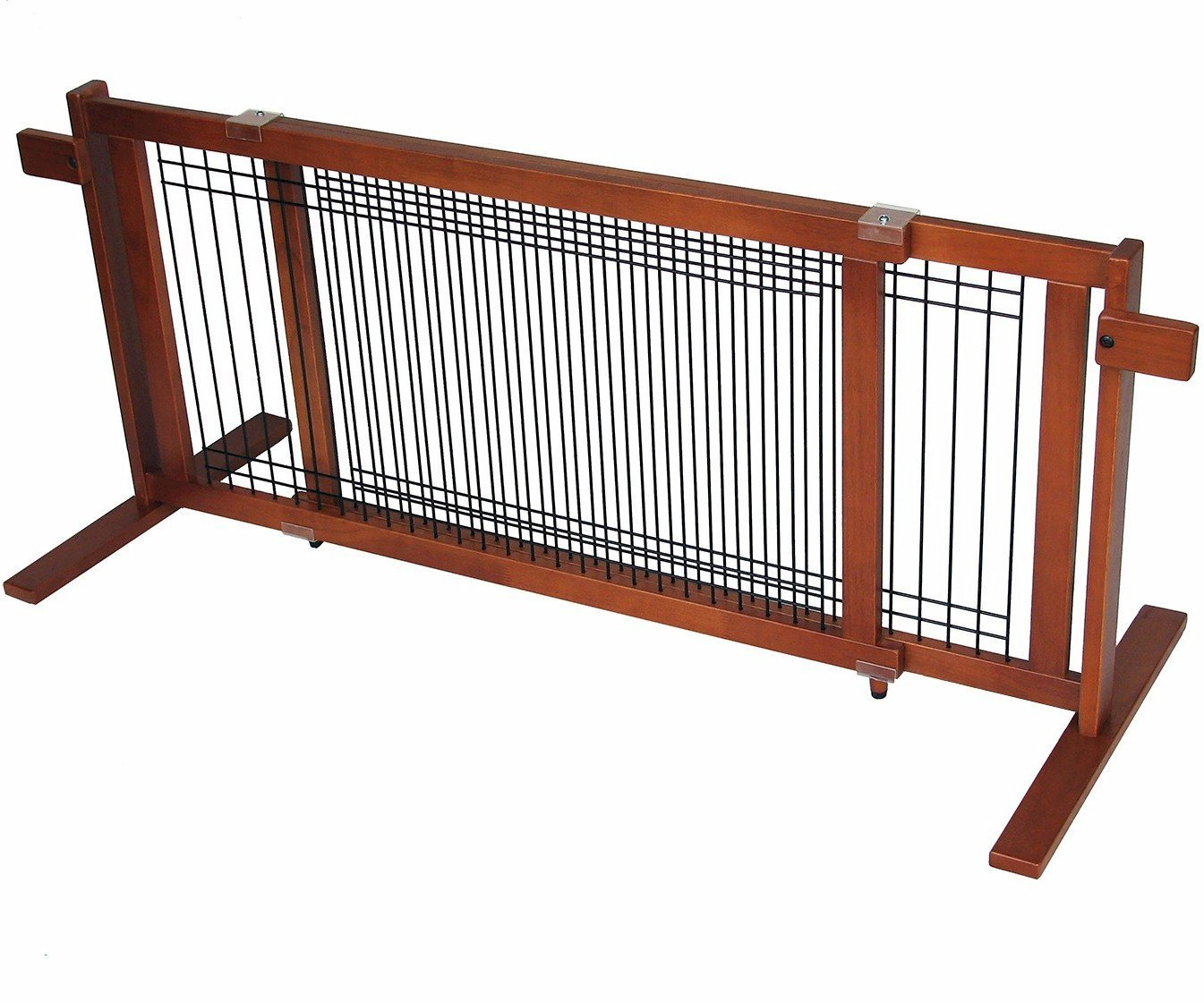 Crown Pet Products 21-Inch High Extra Wide Freestanding Wooden Pet Gate, Large Span Fits Openings 40'' to 74.5'' Wide, Chestnut Finish