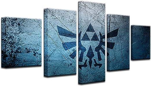 HAOSHUNDA Zelda Triforce Poster Home Decor Wall Art 5 Panel Canvas Print Wall Art (8x14x2,8x18inx2,8x22inx1)