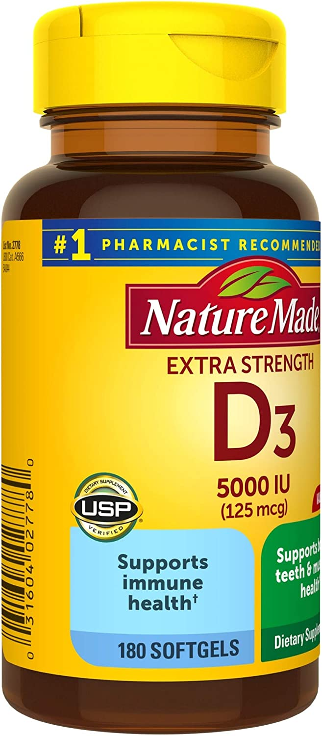 Nature Made Extra Strength Vitamin D3 5000 IU (125 mcg) Softgels, 180 Count for Bone Health† (Packaging May Vary): Health & Personal Care
