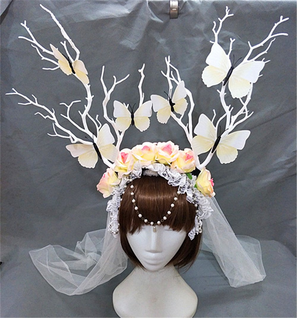 Christmas Fairy & Witch Tree Branches Rose Antlers crystal Veil Headband Cosplay Party Butterfly Flower Headpiece Decoration Steampunk Vintage (White)