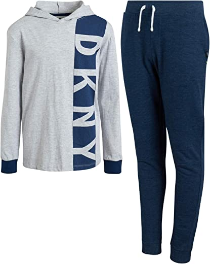 DKNY Boys Jogger Set - 2-Piece Long Sleeve Pullover Hoodie T-Shirt and Fleece Sweatpants