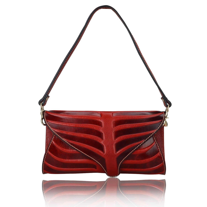 Pijushi Leaf Designer Handbags Embossed Leather Clutch Bag Cross Body Purses 22290 (One Size, Red) by PIJUSHI (Image #2)