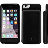 Ula Slim Charger Case for iPhone 6 Charging Case Soft Silicon Portable Phone Battery Case for iPhone 6 Power Cases Juice Bank Cover Black 4500mAh, Suits for iPhone 6 / 6s / 7
