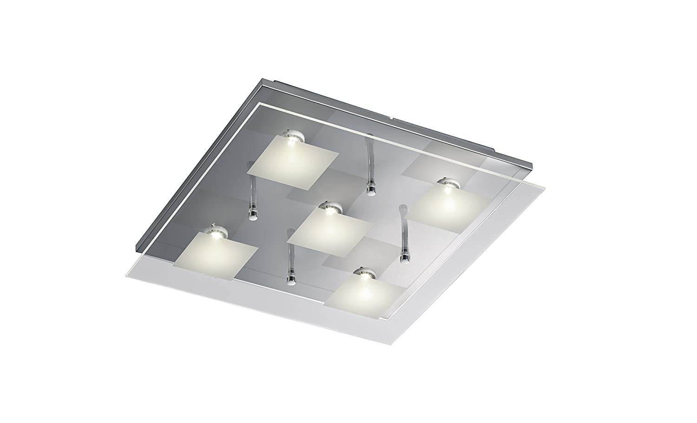 Trio Leuchten LED-Deckenleuchte chrom, Glas klar   satiniert 627910506 [Energieklasse A+]