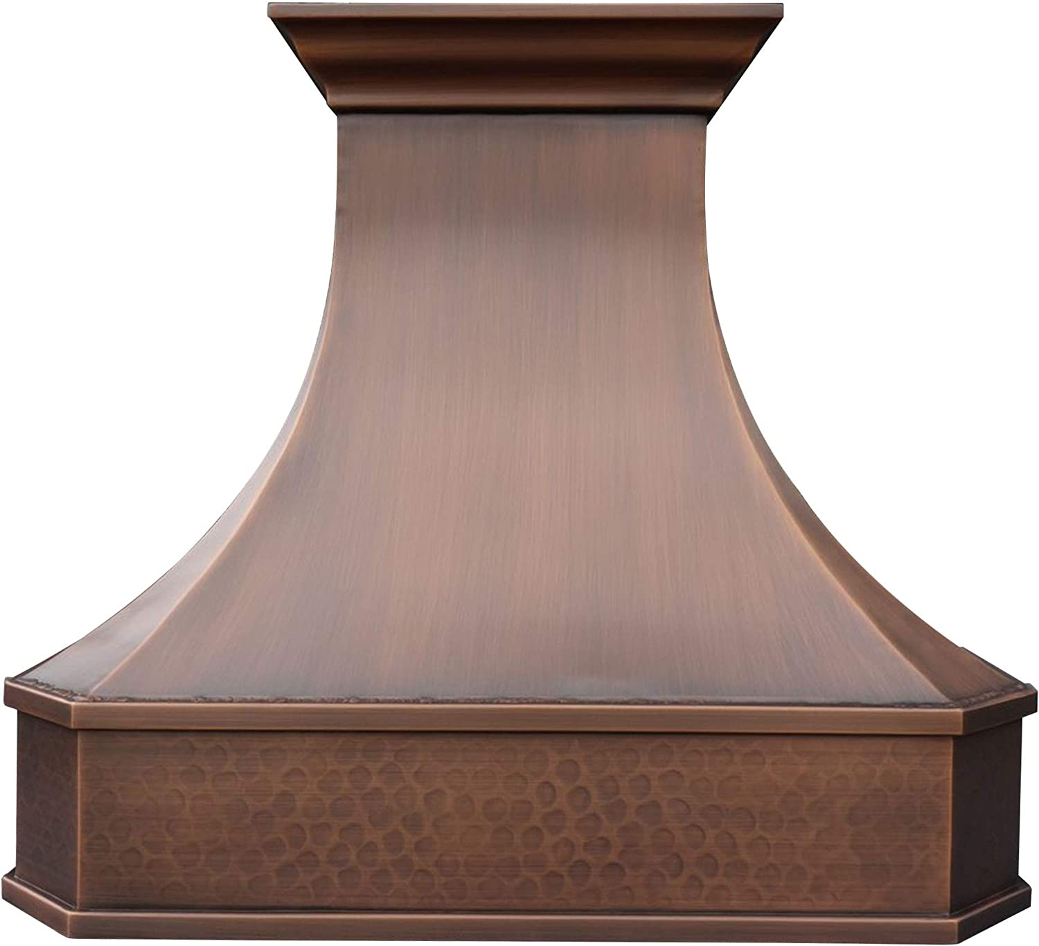 """SINDA Classic Hammered Solid Copper Range Hood with High Airflow Cenrtifugal Blower, Stainless Steal Vent with Liner and Internal Motor, Baffle Filter, 30""""Wx27""""H, H3SLI3027"""