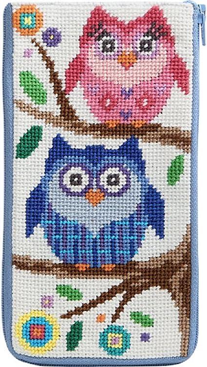 Stitch /& Zip Eyeglass Case Needlepoint Kit Pastel Floral Paisley