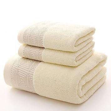 LOF-fei Juego de Toallas Premium de 3 Piezas:Súper Grande Cotton Premium 1