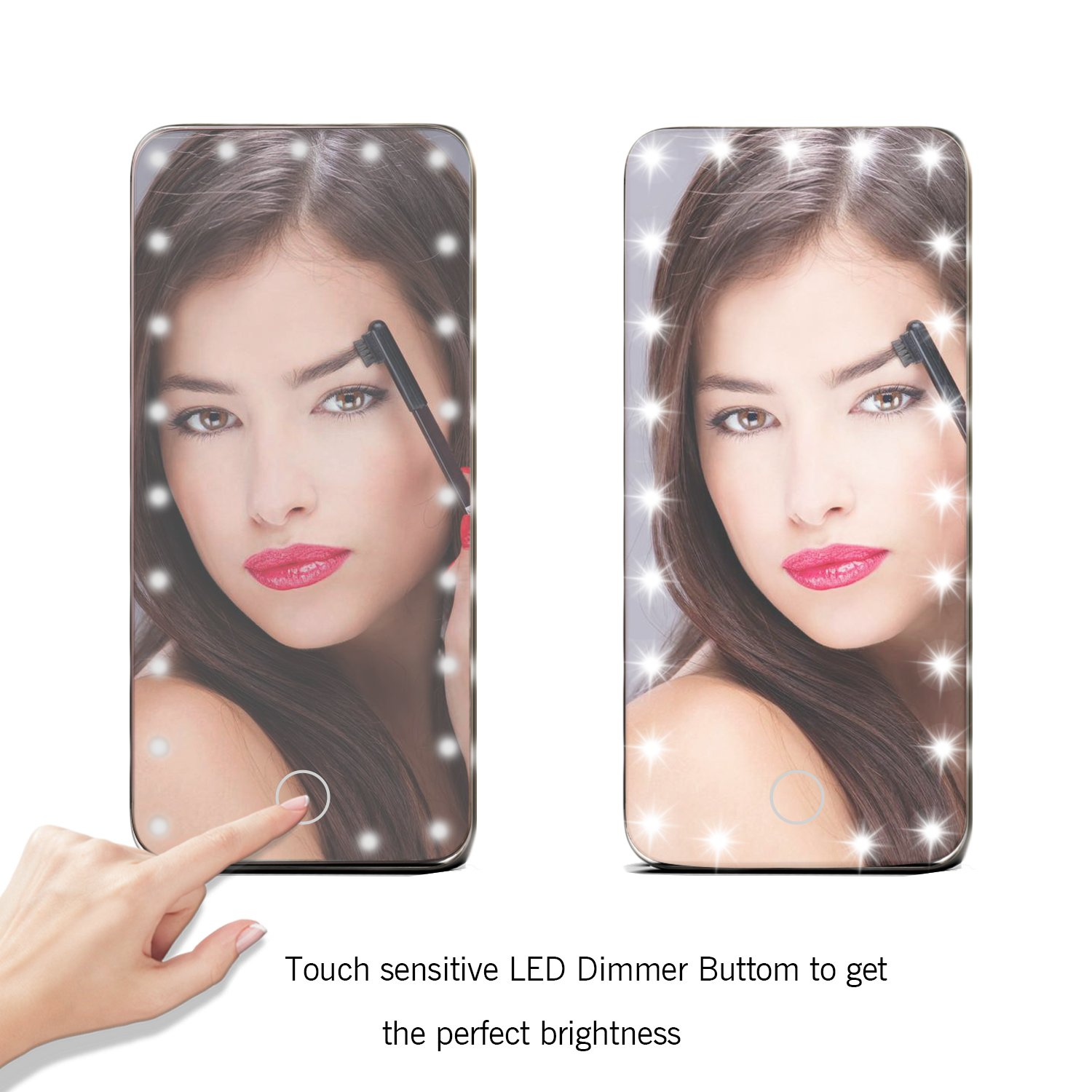 Lighted Makeup Mirror, LoiZau 23 LEDs 5.5 Inch Portable Vanity Makeup Mirror with Lights for Travel USB Charging(Rose Gold)