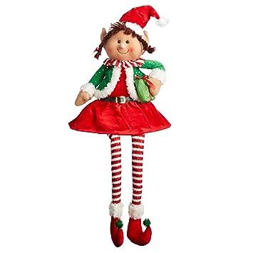 christmas elf shelf sitter with dangling legs elves santas helper christmas decoration red hair santa - Christmas Elf On The Shelf