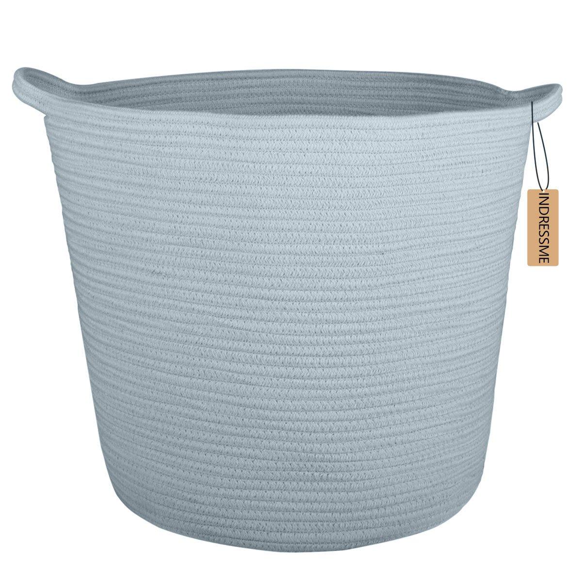 "INDRESSME 16.0""x 15.0""x12.6"" XL Baby Laundry Woven Storage Baskets Cotton Rope Basket Basket Blanket Basket with Handle Toy Bakset Home Decor Addition, Blue Grey"