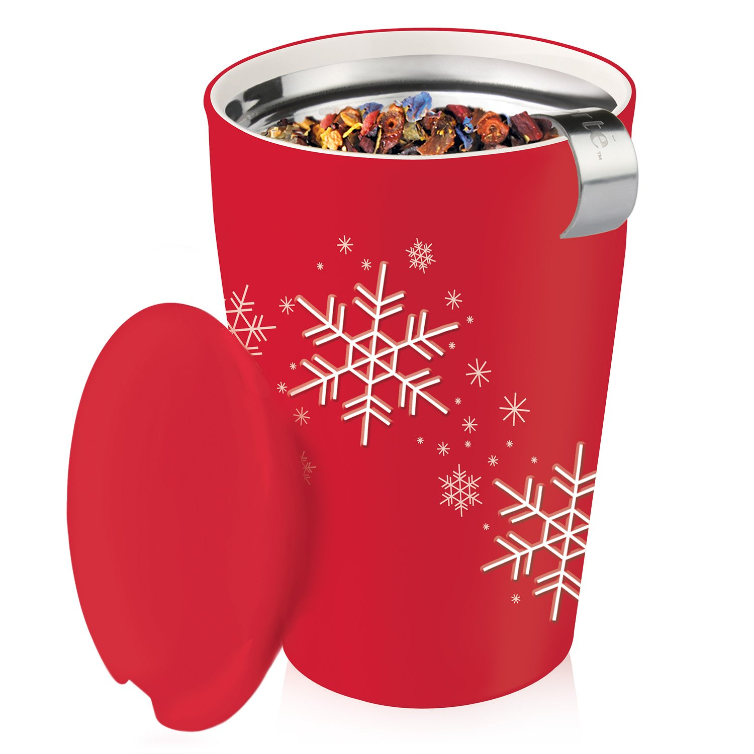 Tea Forté KATI Cup Ceramic Tea Brewing Cup with Infuser Basket and Lid for Steeping, Loose Leaf Tea Maker, Red Snowflake by Tea Forte (Image #5)