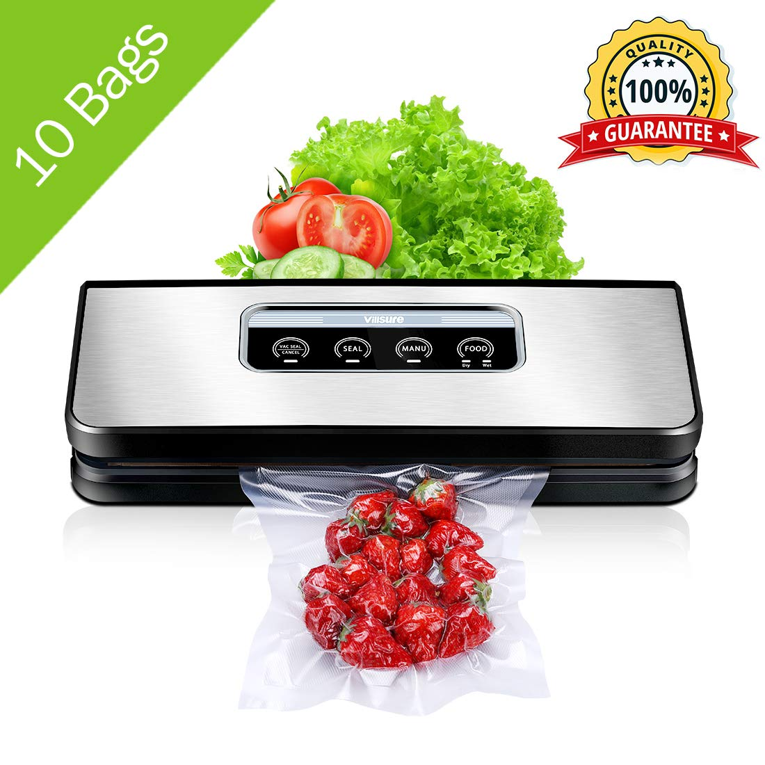 Vacuum Sealer Machine for Food Preservation, Villsure Food Sealer Automatic Vacuum Sealing System with Hose Attachment and 10pcs Sealing Bags Starter Kit, Fresh Up to 5x Longer by Villsure