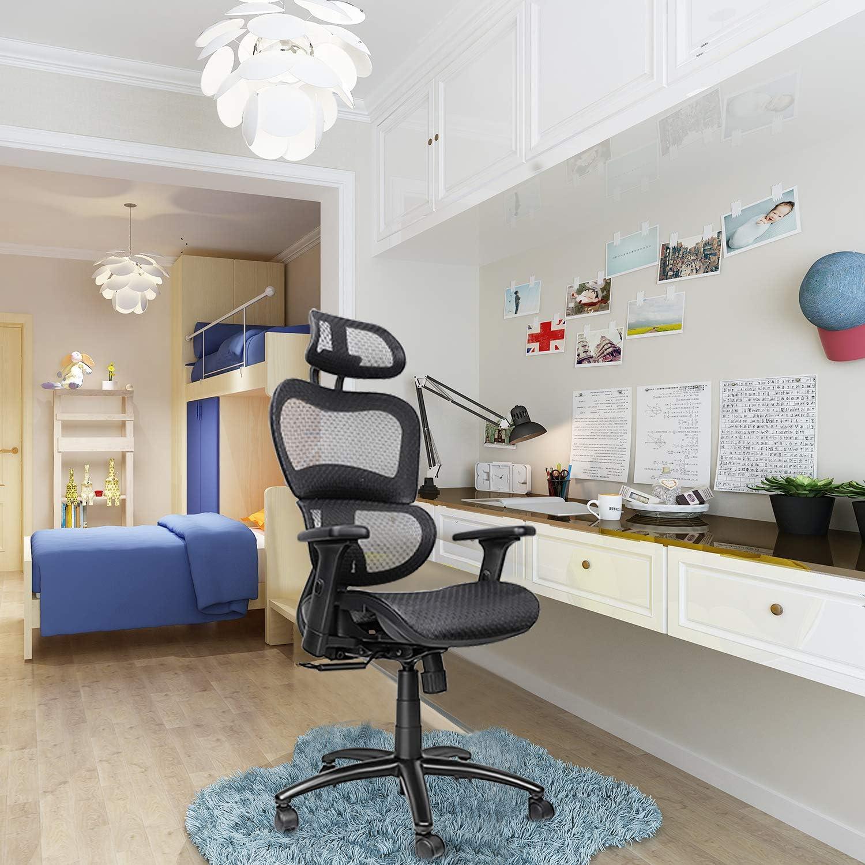 Komene Ergonomic Office Desk Chair Adjustable Headrest 3D Flip-up Armrests Seat Height Ergonomic Computer Chair,Executive Drafting Gaming or Office Chair
