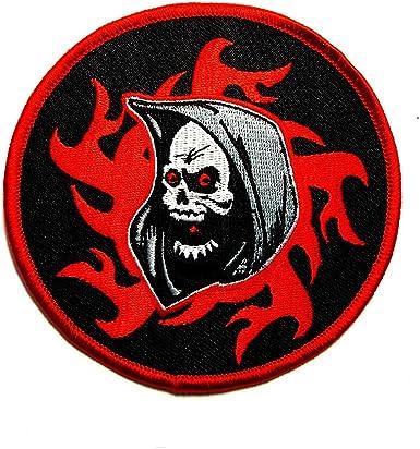 GRIM REAPER GOTHIC SKULL BIKER PATCH 12  INCH PATCH