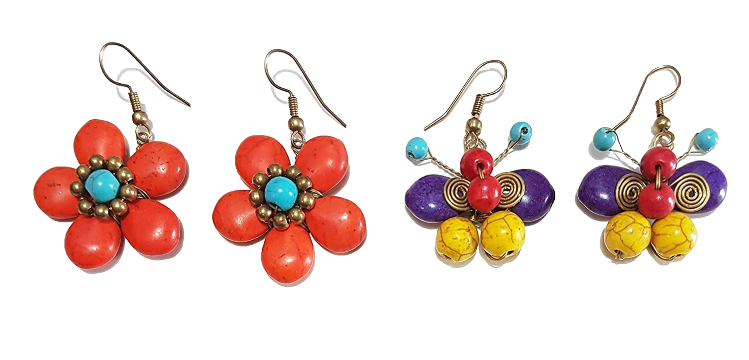 Moks Color Magnesite Earrings Dangle Drop Handmade with Magnesite Beads /& brass wire cord