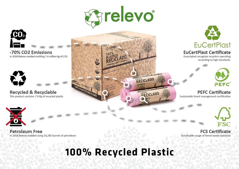 15 pi/èces tr/ès r/ésistant 30L Relevo Sacs Poubelle 100/% recycl/és parfum/és