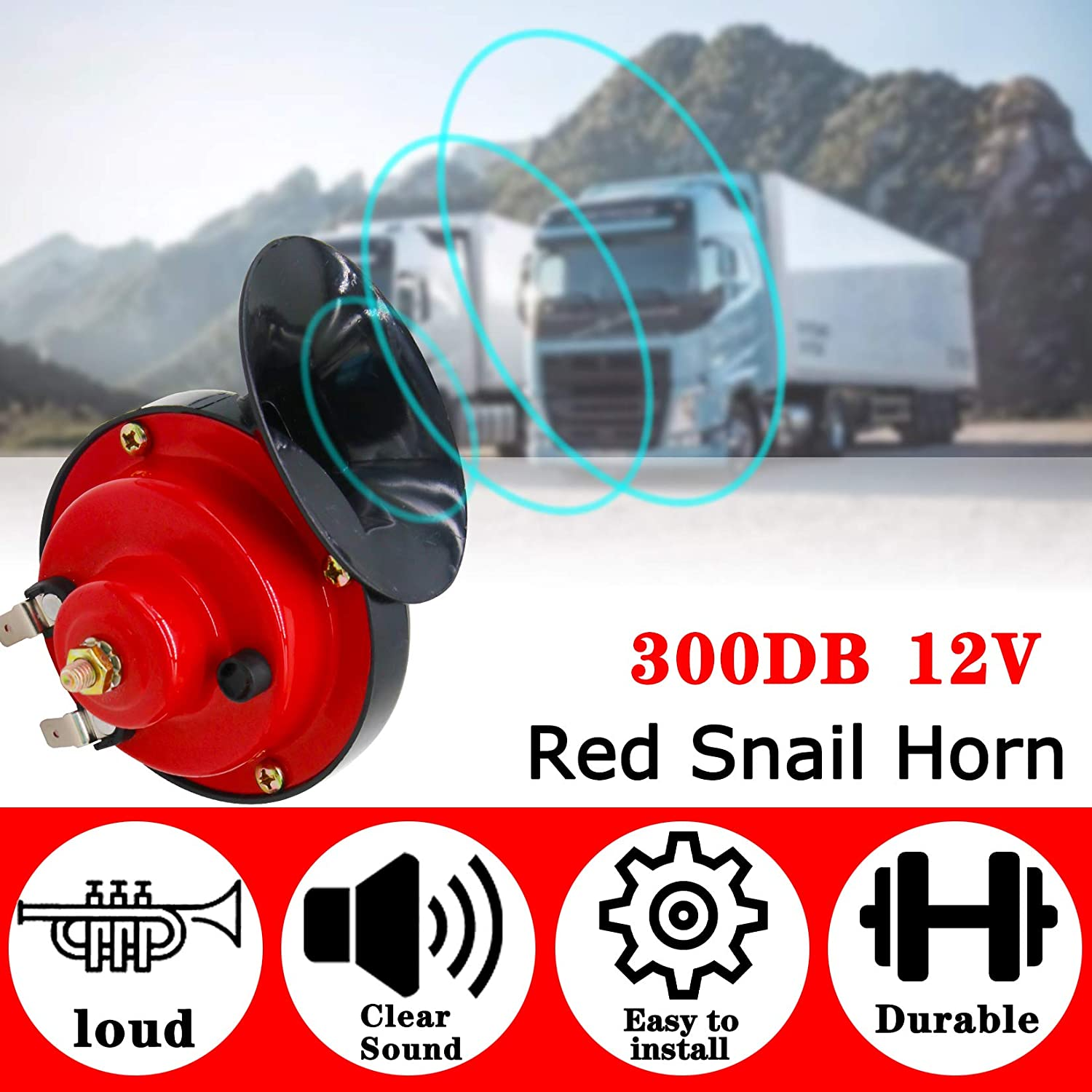 HXXF Train Horns for Trucks 300DB Super Loud Electric Snail Single Horn 12V Waterproof Train Horns Kit for Truck Train Boat Car Motorcycle Truck Boat,Gloves Included 2 Pack