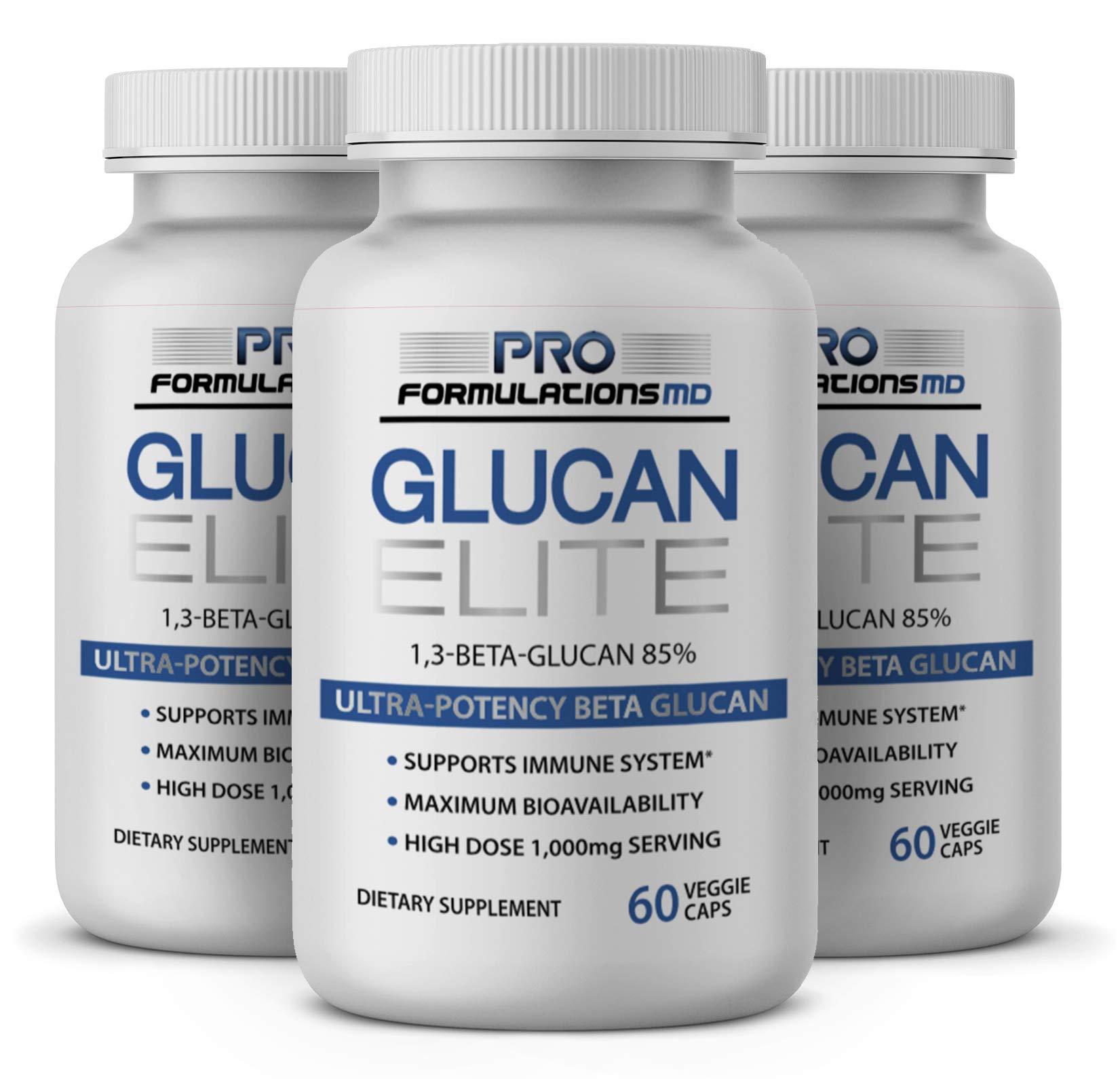 Glucan Elite – 85% Beta 1,3D Glucan 500mg - 60 vcaps | 85% Minimum Active 1,3 Linkage Ultra-Potency Beta Glucan – Highest Bioavailability with BGF-Immune (Pack of 3)