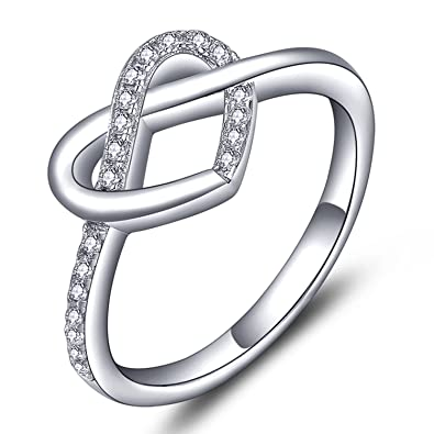 4dd5e80f2 YL Women's Sterling Silver Cubic Zirconia Infinity Love Knot Heart Promise  Ring for Anniversary-size5