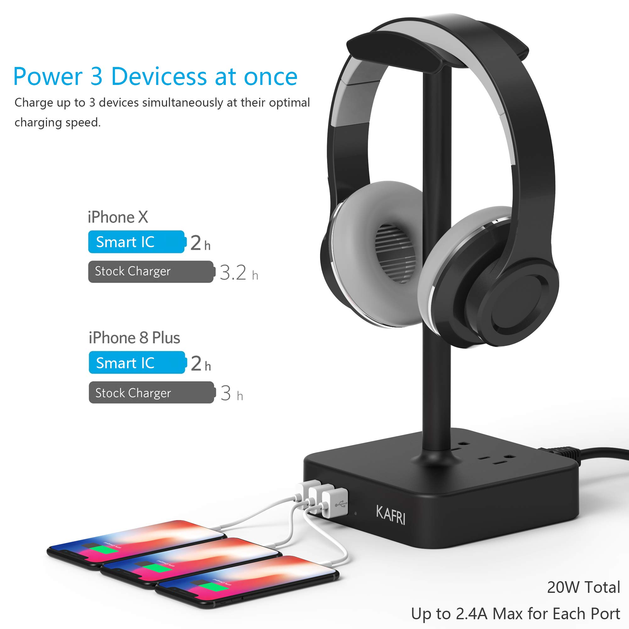 KAFRI Headphone Stand with USB Charger Desk Gaming Headset Holder Hanger Rack with 3 USB Charging Port and 2 AC Outlet - Suitable for Gamer Desktop Table Wireless Earphone Accessories Boyfriend Gift by KAFRI (Image #2)