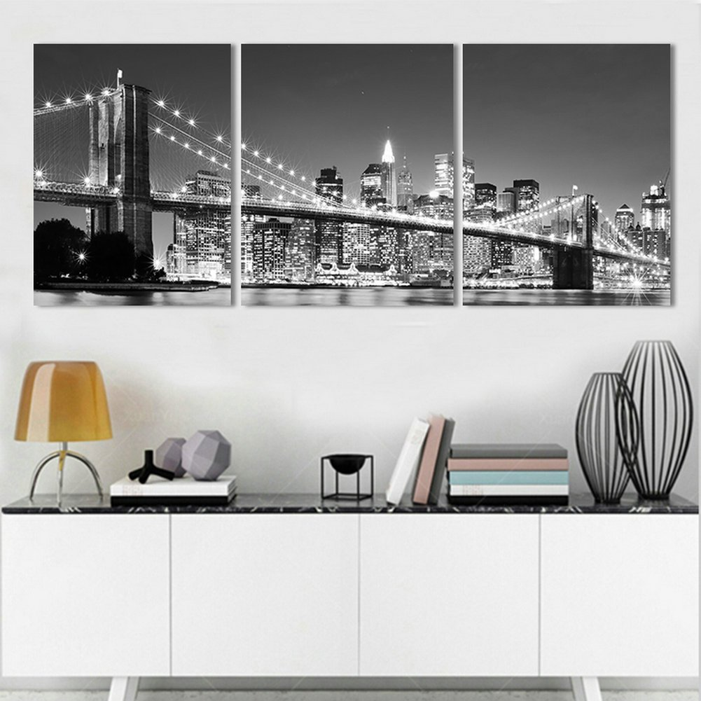 cozy furniture brooklyn. Amazon.com: H.COZY 3 Piece Modern Wall Painting New York Brooklyn Bridge Home Decorative Art Picture Paint On Canvas Prints (No Frame) Unframed FCR32 36 Cozy Furniture