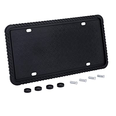 Orion Motor Tech Silicone License Plate Frame, License Plate Cover, Mounting Screws, Rust-Proof, Rattle-Proof, Weather-Proof, Scratch-Proof Universal Plate Holder, Visible Letters and Stickers: Automotive