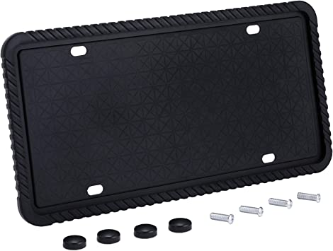 Rust-Proof Rattle-Proof Visible Letters and Stickers License Plate Cover Mounting Screws Weather-Proof Orion Motor Tech Silicone License Plate Frame Scratch-Proof Universal Plate Holder