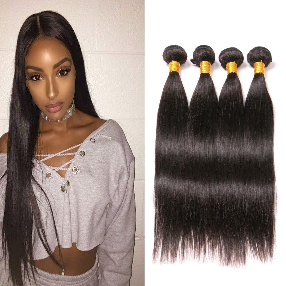Unprocessed Brazilian Straight Hair 4 Bundles Human Tangle Free Hair
