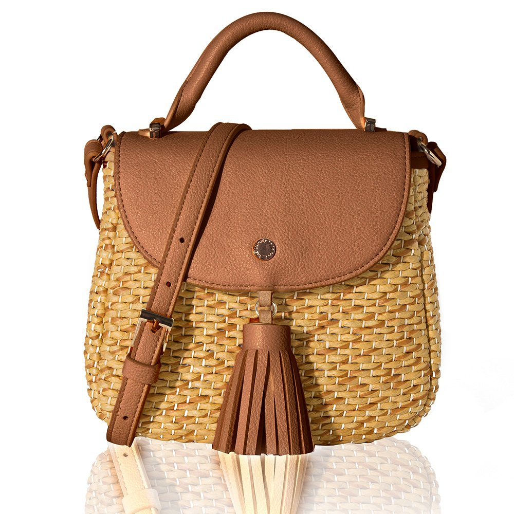 The Lovely Tote Co. Women's Straw Crossbody Bag Woven Cross Body Bag Shoulder Top Handle Satchel, Brown