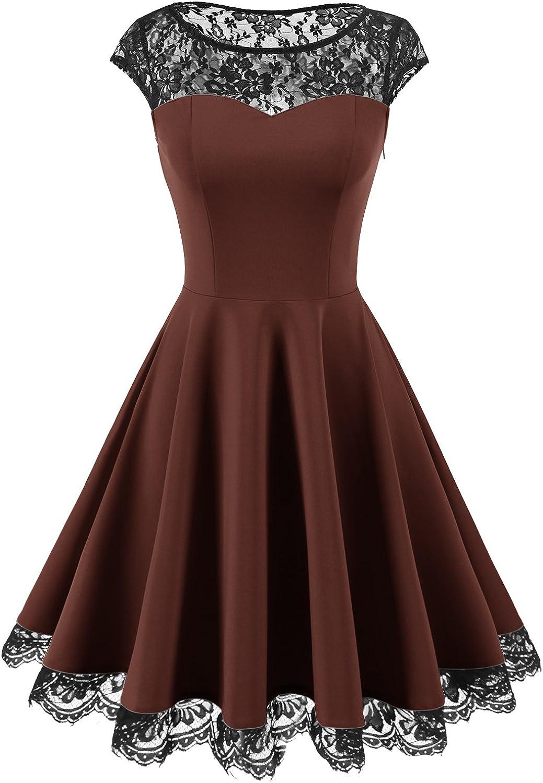 TALLA S. Homrain 1950s Vintage Encaje Floral Contraste Coctel Vestido Corta para Mujer Brown S