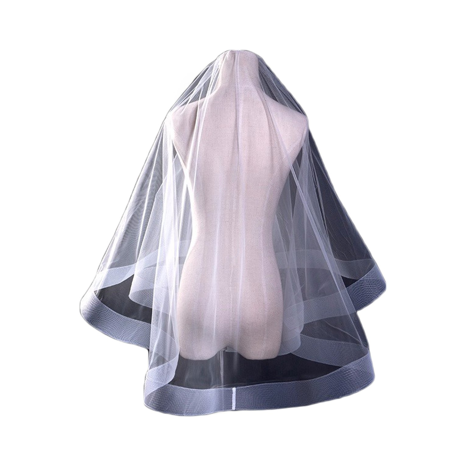 Ruolai Horsehair Short Two-Tier Wedding Veil Elegant Bridal Veil ivory 2 in